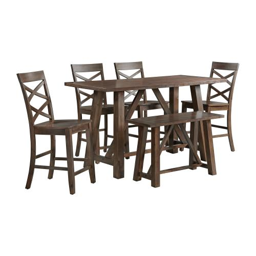 Renegade 6PC Counter Height Dining Set in Cherry-Table, 4 Side Chairs & Bench