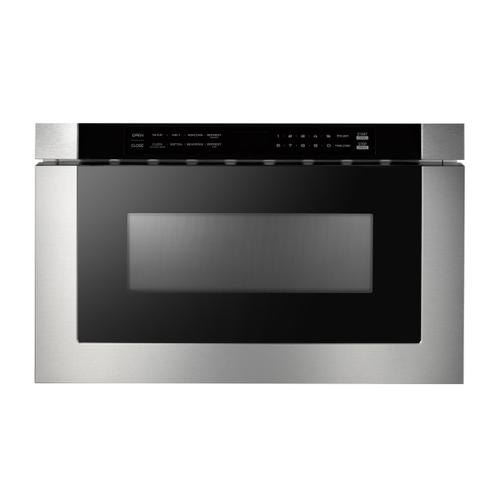 """XO Appliance - 24"""" Built-In Microwave Drawer - Black Glass & Stainless"""