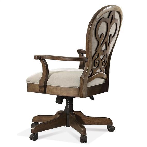 Riverside - Belmeade - Scroll Back Upholstered Desk Chair - Old World Oak Finish