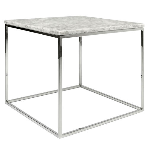 Grako Design - Faux Marble Finish End Table MDF Chrome Base Modern Living Room Wholesale