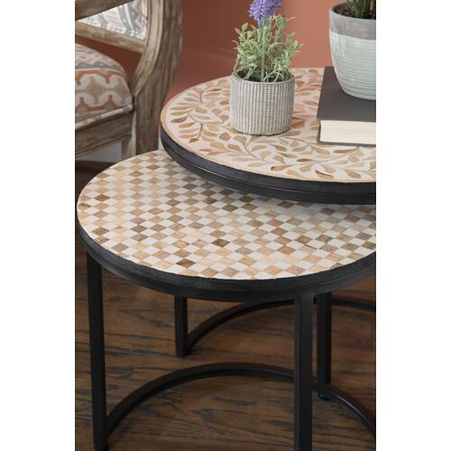2-piece Nesting Table Set, Black and Natural
