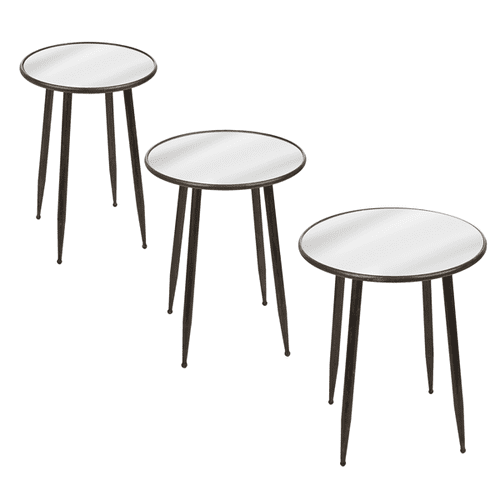 Round Mirror Side Table (3 pc. set)