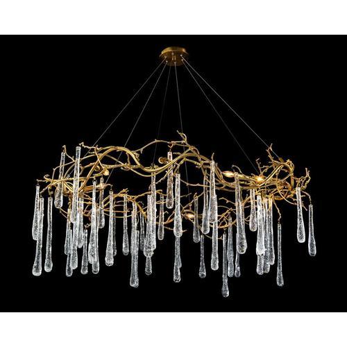 Brass and Glass Teardrop Eight-Light Chandelier