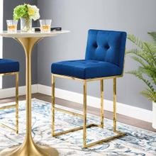 Privy Gold Stainless Steel Performance Velvet Bar Stool in Gold Navy