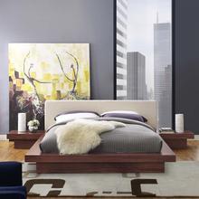 See Details - Freja 3 Piece Queen Fabric Bedroom Set in Walnut Beige
