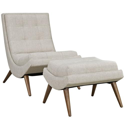 Ramp Upholstered Fabric Lounge Chair Set in Sand