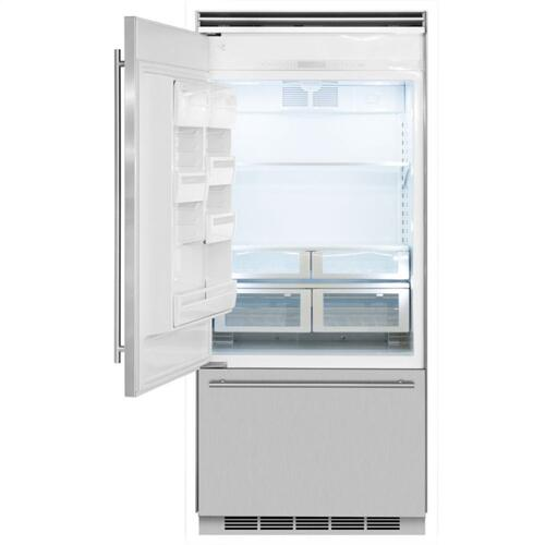"Marvel Professional Built-In 36"" Bottom Freezer Refrigerator - Solid Stainless Steel Door - Left Hinge, Slim Designer Handle"