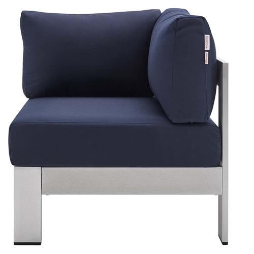 Shore Sunbrella® Fabric Aluminum Outdoor Patio Corner Sofa in Silver Navy