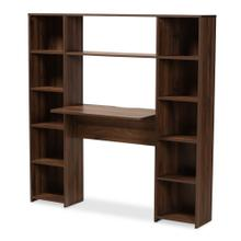 See Details - Baxton Studio Ezra Modern and Contemporary Walnut Brown Finished Wood Storage Computer Desk with Shelves