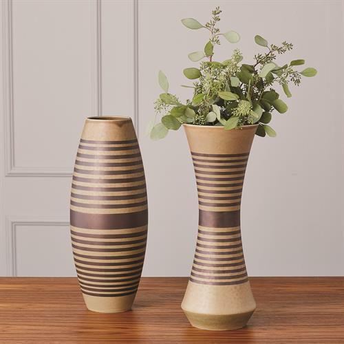 Banded Cinched Vase-Tarnish