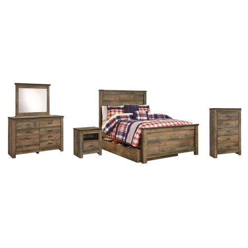 Full Panel Bed With 1 Storage Drawer With Mirrored Dresser, Chest and Nightstand