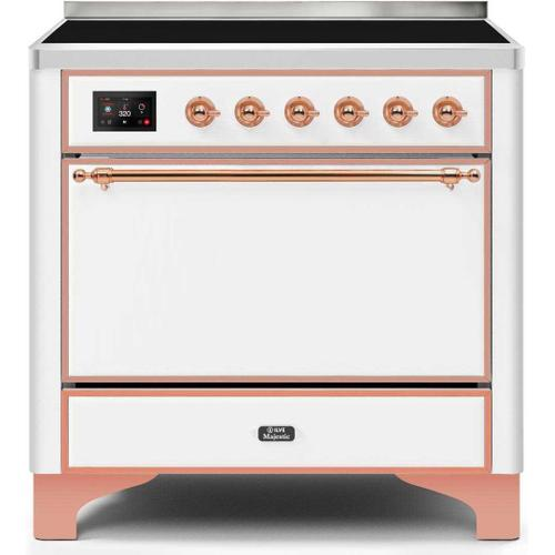 Ilve - Majestic II 36 Inch Electric Freestanding Range in White with Copper Trim