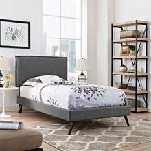 View Product - Amaris Twin Fabric Platform Bed with Round Splayed Legs in Gray