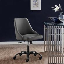 Designate Swivel Vegan Leather Office Chair in Black Gray