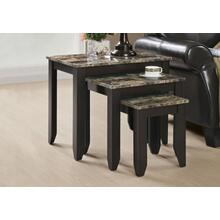 NESTING TABLE - 3PCS SET / ESPRESSO MARBLE TOP