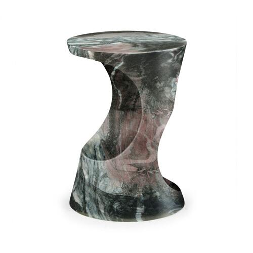 Round Faux Black & Grey Marble Cut-Out Lamp Table