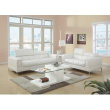 Gerardo 2pc Loveseat & Sofa Set, White-bonded-leather