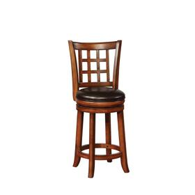 Traditional Brown Swivel Counter-height Stool