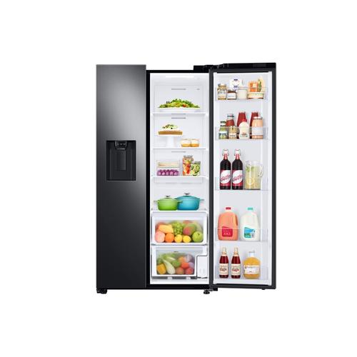 Samsung - 27.4 cu. ft. Large Capacity Side-by-Side Refrigerator in Black Stainless Steel