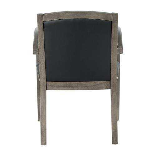 Napa Urban Walnut Guest Chair With Full Cushion Back, Black Bonded Leather