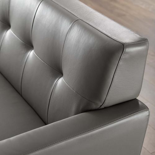 Engage Top-Grain Leather Living Room Lounge Sofa in Gray