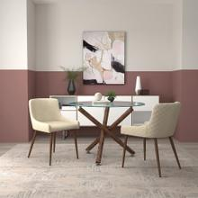 Rocca/Bianca 3pc Dining Set, Walnut/Walnut & Beige