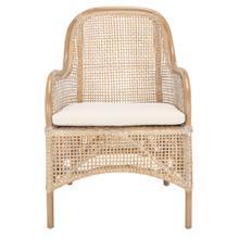 Charlie Rattan Accent Chair W/ Cushion - Grey White Wash / White