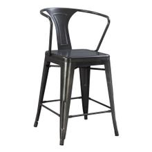 "Dakota III 24"" Bar Height Arm Chair Gunmetal Gray"