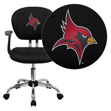 St. John Fisher College Cardinals Embroidered Black Mesh Task Chair with Arms and Chrome Base