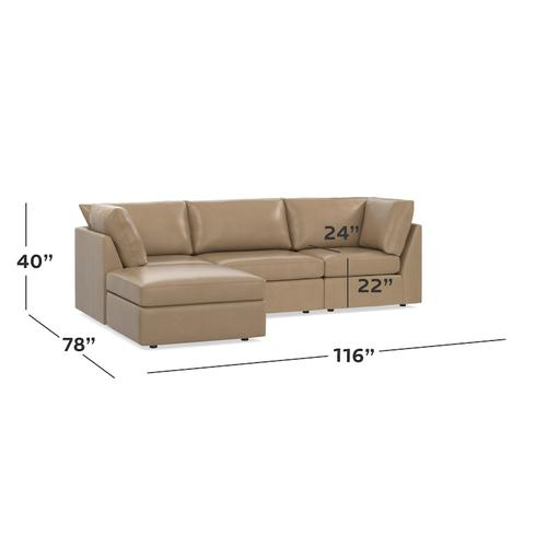 Beckham Leather Small Chaise Sectional