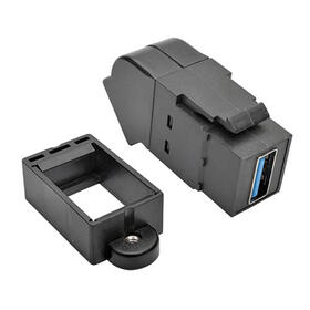 USB 3.0 All-in-One Keystone/Panel Mount Angled Coupler (F/F), Black