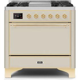 36 Inch Antique White Dual Fuel Natural Gas Freestanding Range