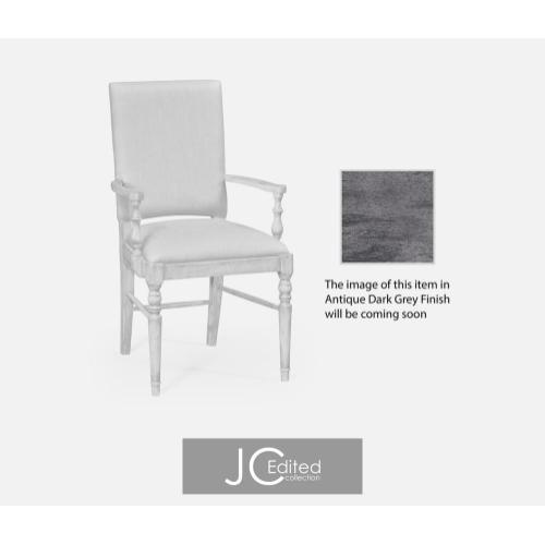 Antique dark grey upholstered armchair