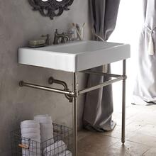 """View Product - Oak Hill 30"""" Bathroom Sink with Console - Canvas White / Brushed Nickel"""
