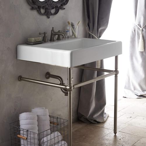 """Dxv - Oak Hill 30"""" Bathroom Sink with Console - Canvas White / Brushed Nickel"""
