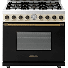 Range DECO 36'' Classic Black dual color, Bronze 6 gas, gas oven