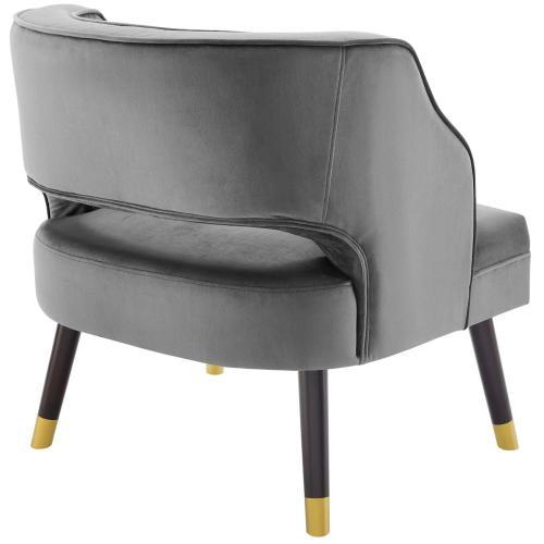Traipse Button Tufted Open Back Performance Velvet Armchair in Gray