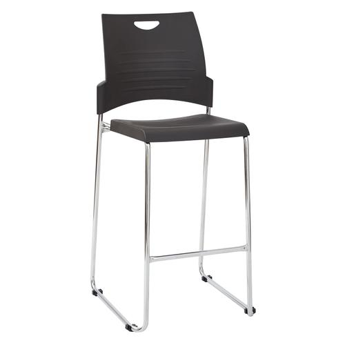 Tall Black Stacking and Ganging Chair With Plastic Seat and Back With Chrome Frame