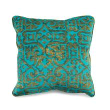 Toss Pillow with a Work Blue Scroll Pattern