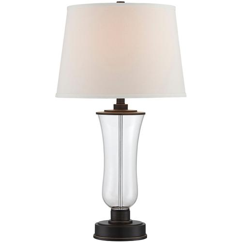Table Lamp, D.BRZ/GLASS Body/white Fabric Shade, E27 A 150w