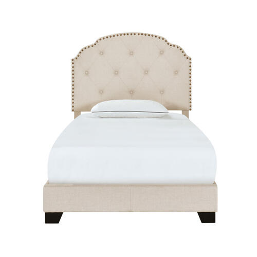 Diamond Tufted, Nailhead Trim Twin Upholstered Bed in Cream