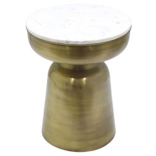 Clyde Marble Side Table, Antique Brass