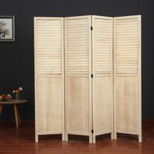 See Details - 7108 NATURAL Rustic Shutter 4-Panel Room Divider