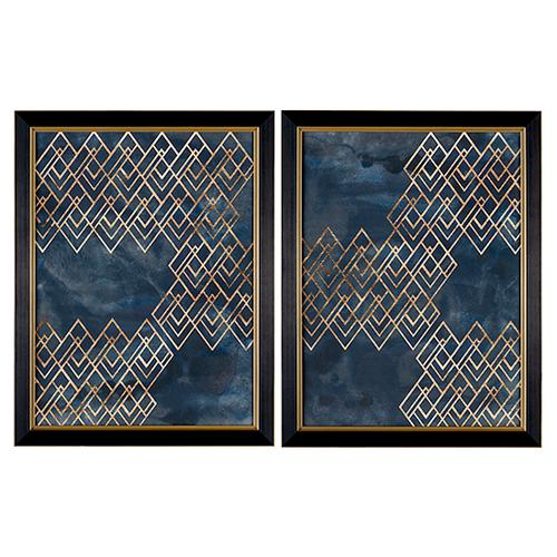 Crestview Collections - Décor Pattern in Blue 1 & 2