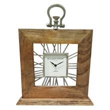 "13x16"" Mango Wood Table Clock, Natural"