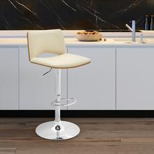 View Product - Thierry Adjustable Swivel Cream Faux Leather with Walnut Back and Chrome Bar Stool