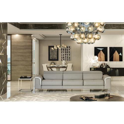 Accenti Italia Vogue Italian Modern Grey & White Sofa w/ Electric Recliner