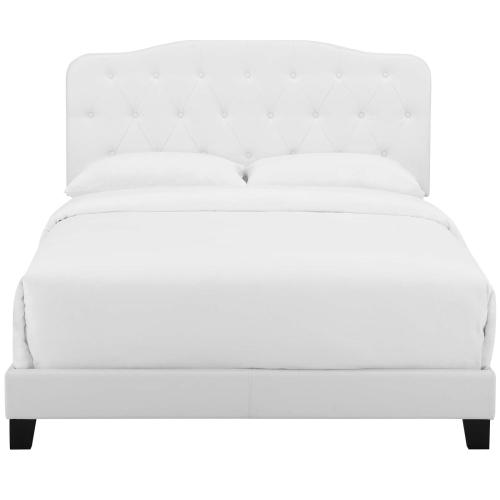 Amelia Full Faux Leather Bed in White