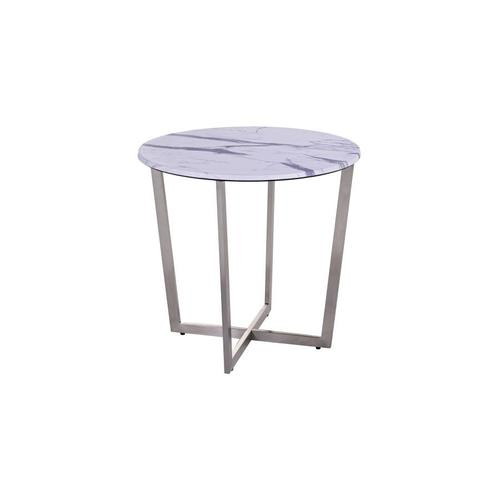 COMING SOON, PRE-ORDER NOW! Pompei Round Marble-Look End Table, 1880