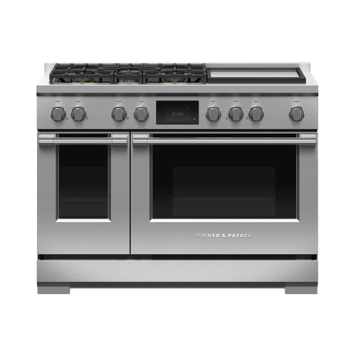 """Fisher & Paykel - Dual Fuel Range, 48"""", 5 Burners with Griddle, Self-cleaning"""